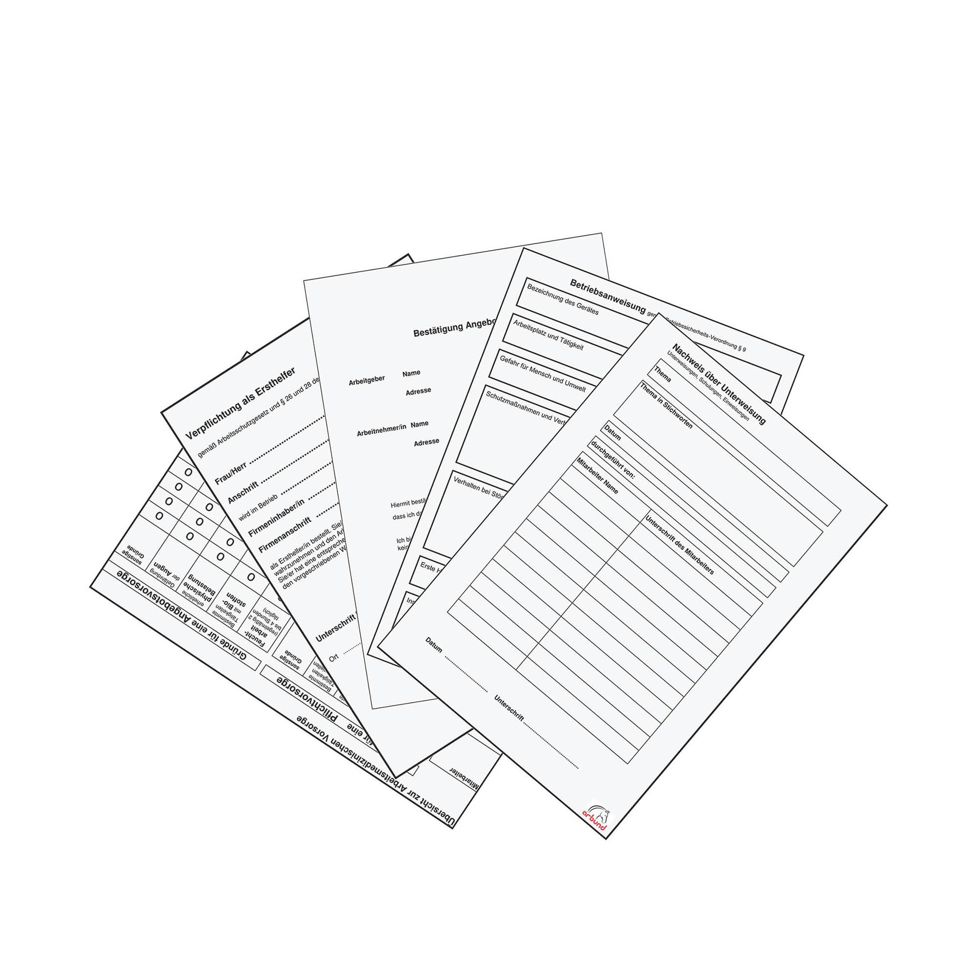 Musterlieferung arbund Verlag - Ihr Partner für die Dokumentation im Arbeitsschutz